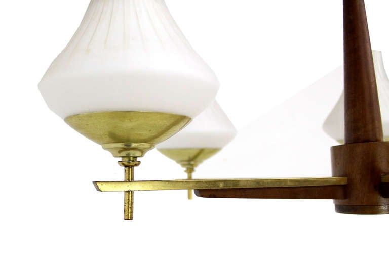 Danish Mid Century Modern Light Fixture Chandelier 5 Frosted Glass Shades In Excellent Condition For Sale In Rockaway, NJ