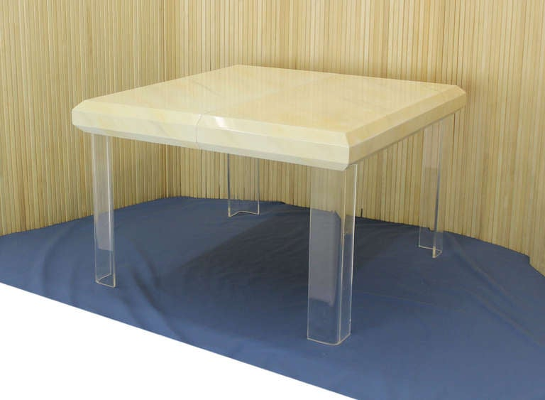 mid century modern square white lacquer dining table 2