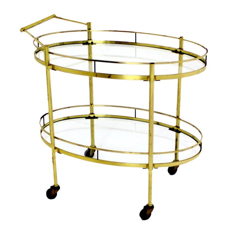 Mid Century Modern Solid Brass Oval Tea Cart Rolling Bar