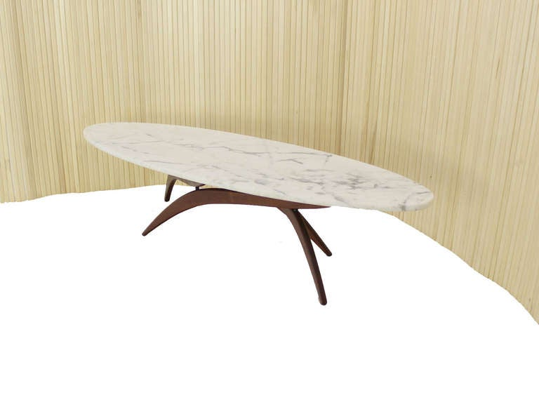Mid Century Modern Oval Marble Top Walnut Base Coffee Table At 1stdibs