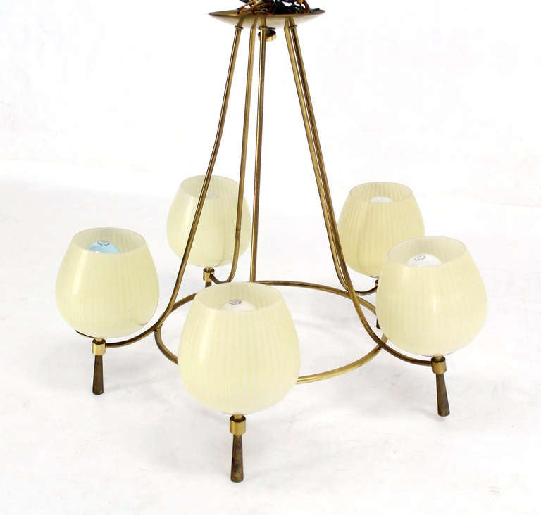 mid century danish modern five light fixture chandelier at