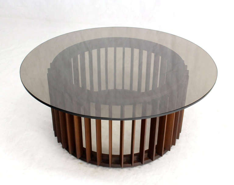 Nice Mid Century Danish Modern Walnut Base And Smoked Glass Top Round Coffee  Table 3