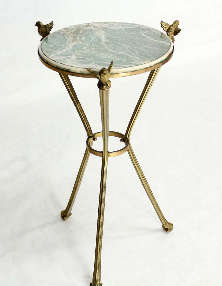 Petite brass and marble top gueridon or lamp table with for Table gueridon