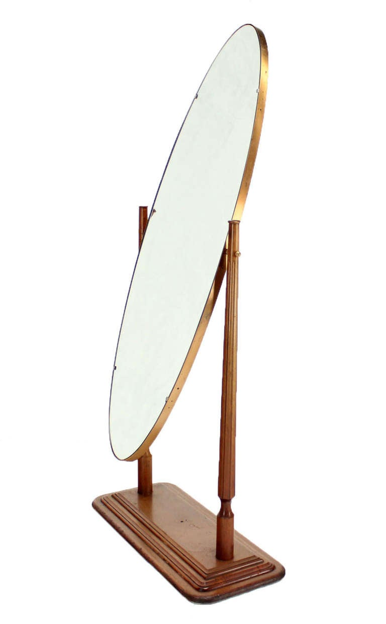 Mid century modern oval cheval mirror on heavy walnut base for Floor mirrors for sale