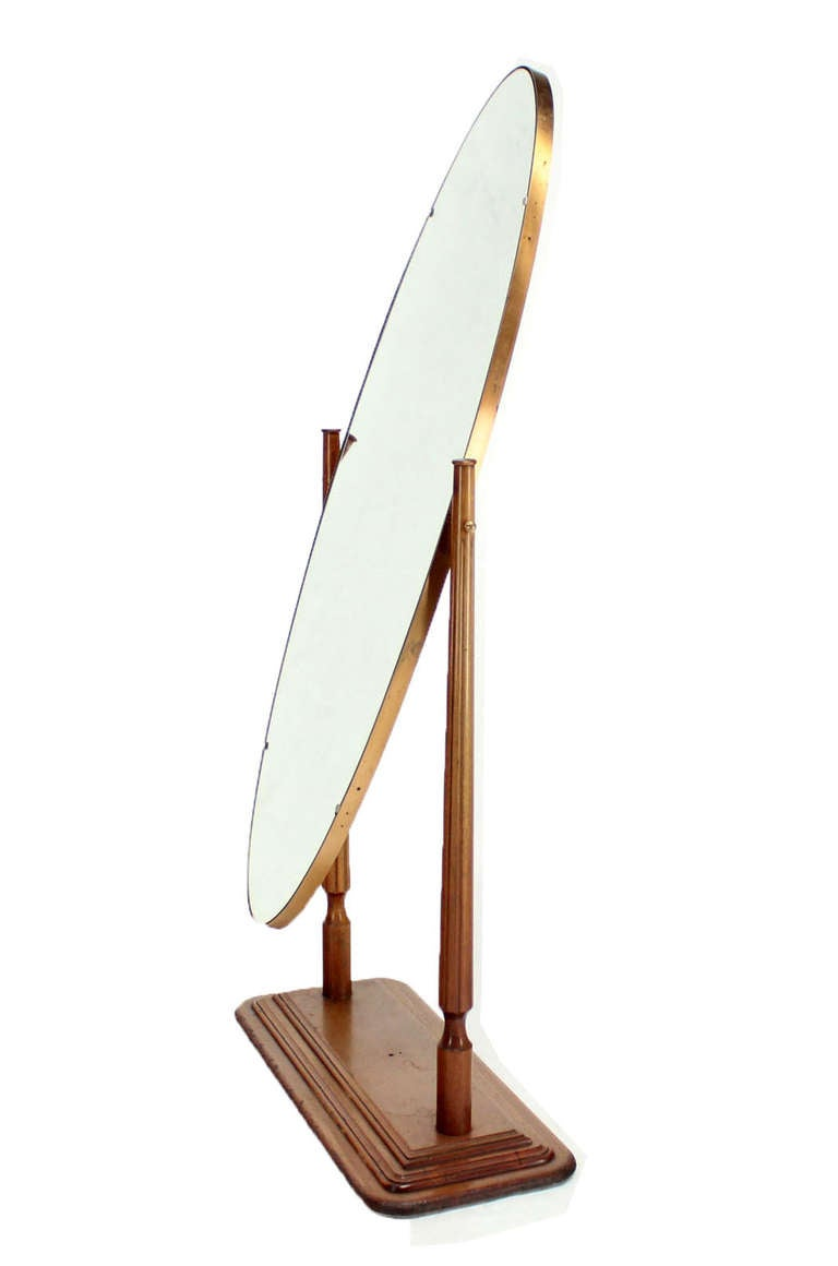 Mid century modern oval cheval mirror on heavy walnut base for Floor length mirror for sale