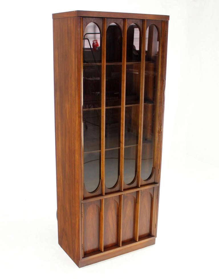 Mid Century Danish Modern Walnut And Rosewood Slim Curio