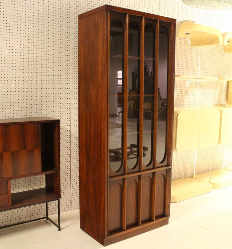 Mid-Century Danish Modern Walnut and Rosewood Slim Curio China ...