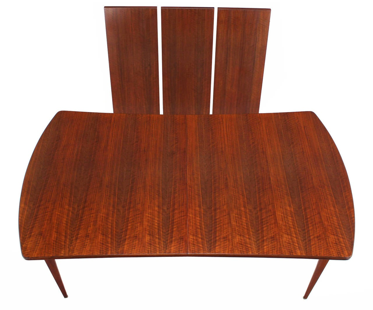 Mid-Century Modern Dining Table with Three Extension Leaves and Six Matching Chairs Set For Sale
