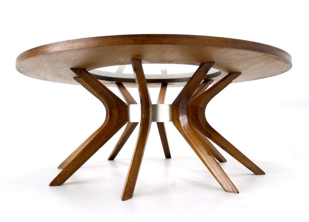 Splay Leg Mid Century Modern Round Walnut Coffee Table At 1stdibs