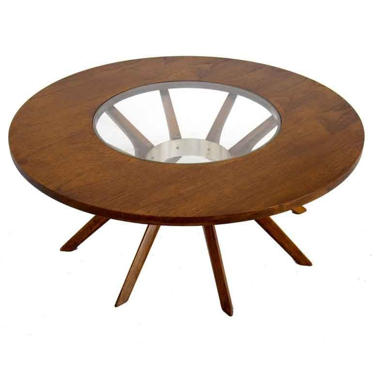 Splay Leg Mid Century Modern Round Walnut Coffee Table For