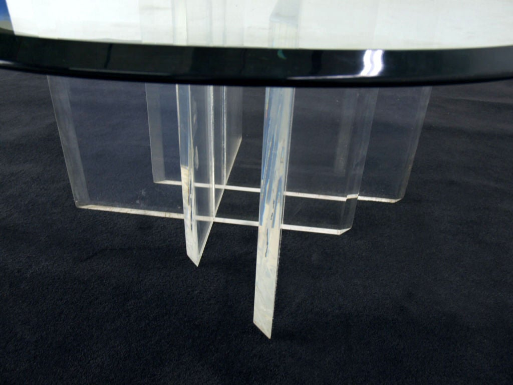 Lucite Base And Glass Top Coffee Table For Sale At 1stdibs