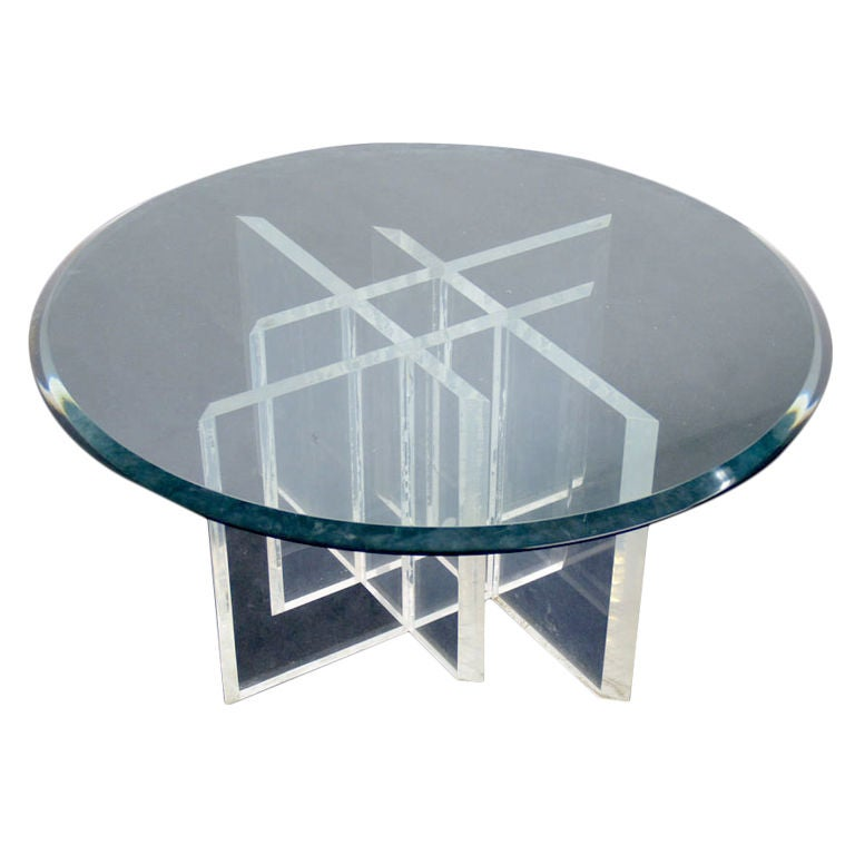 Lucite Base Glass Top Coffee Table At 1stdibs