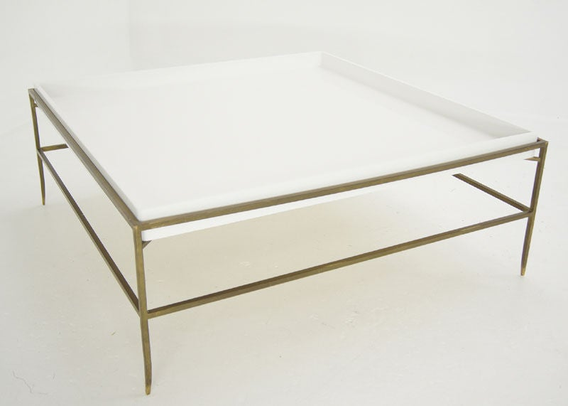 Tommi Parzinger Solid Brass White Lacquer Tray Coffee Table At 1stdibs