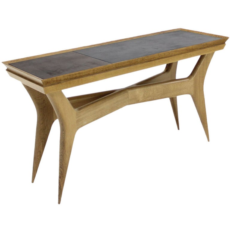 Mid century modern heavy wood base console table at 1stdibs for Contemporary wood console tables