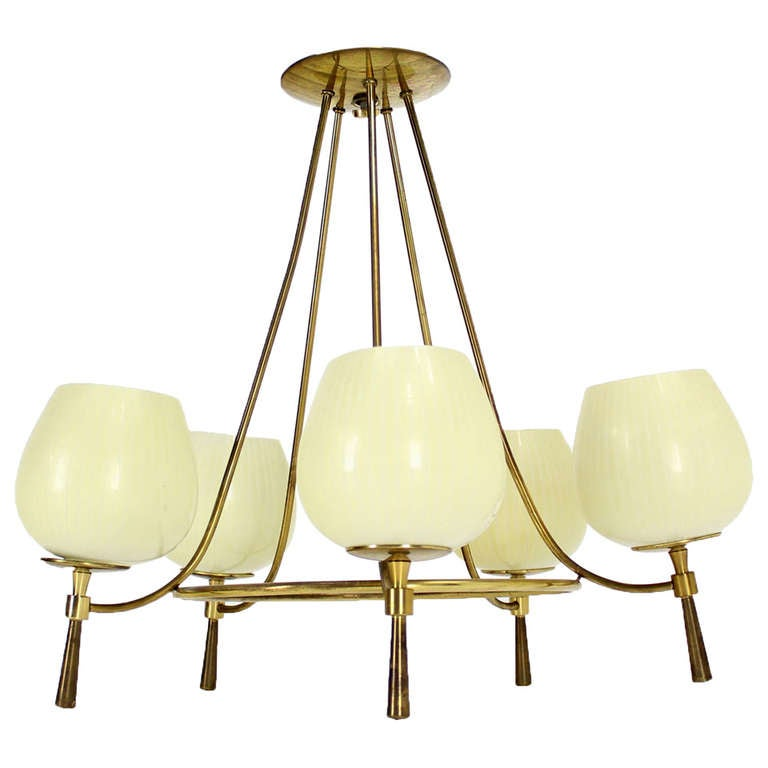 Mid century danish modern five light chandelier at 1stdibs for Mid century modern pendant light fixtures