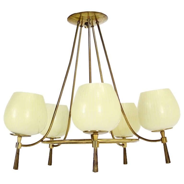 Mid century danish modern 5 light fixture chandelier at for Danish modern light fixtures