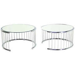 Pair of Circular Chrome Base End Tables with Mirrored Tops