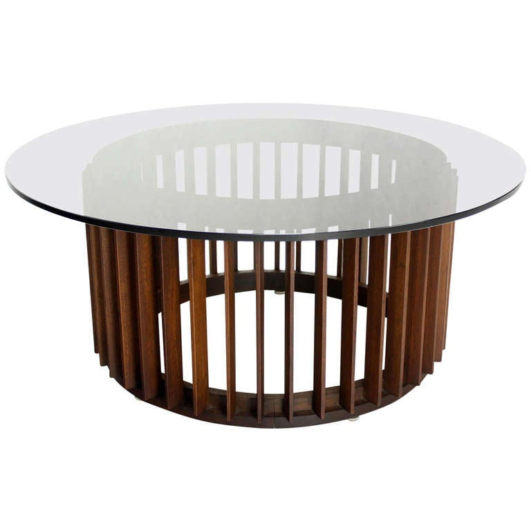 Mid Century Danish Modern Walnut Base And Smoked Glass Top Round Coffee Table At 1stdibs