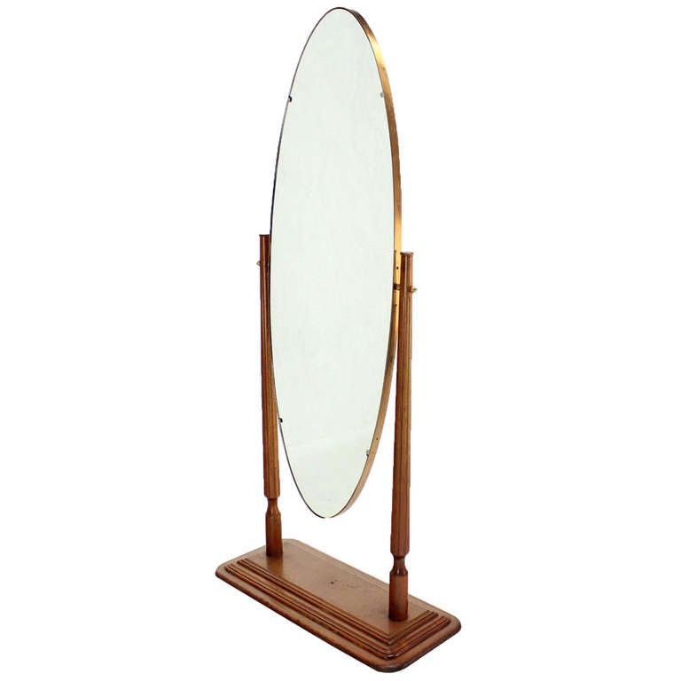 Mid Century Modern Oval Cheval Mirror On Heavy Walnut Base