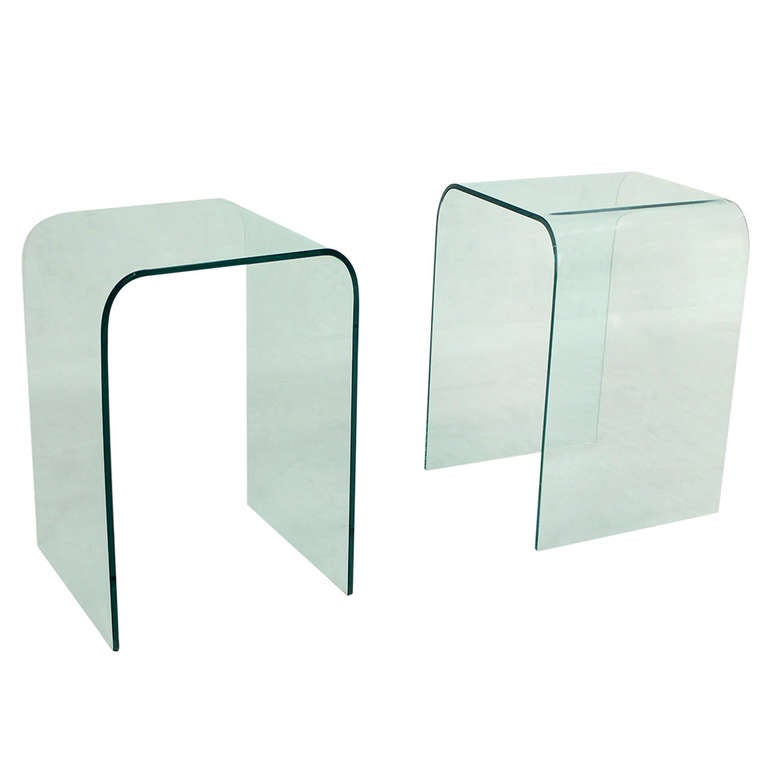 "Pair of Mid-Century Modern Bent Glass ""Ghost"" End Tables"