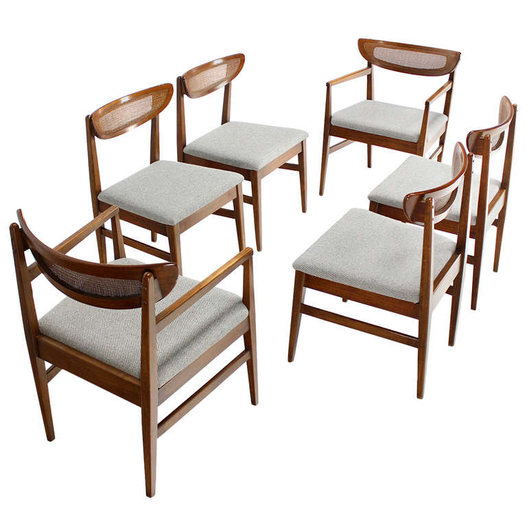 Set Of Six Mid Century Danish Modern Dining Chairs New Wool Upholstery For Sa