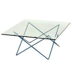 Mid-Century Modern Steel Rod Base and Sputnik Style Glass-Top Coffee Table