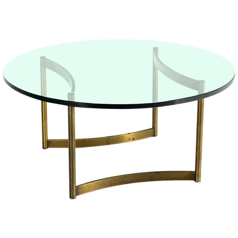 Brass And Round Glass Base Coffee Table By Mastercraft Mid Century Modern At 1stdibs
