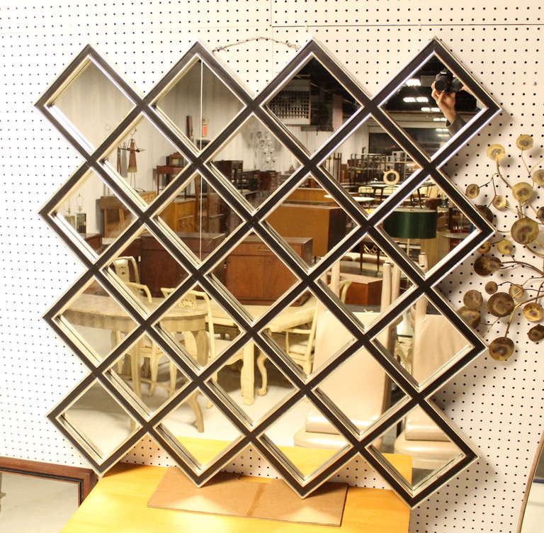 Large square 25 mirror tiles style wood framed mirror at for Large square mirror