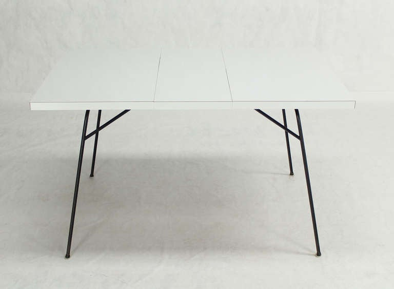 20th Century Mid Modern Pee Wire Leg Dining Table With One Leaf For