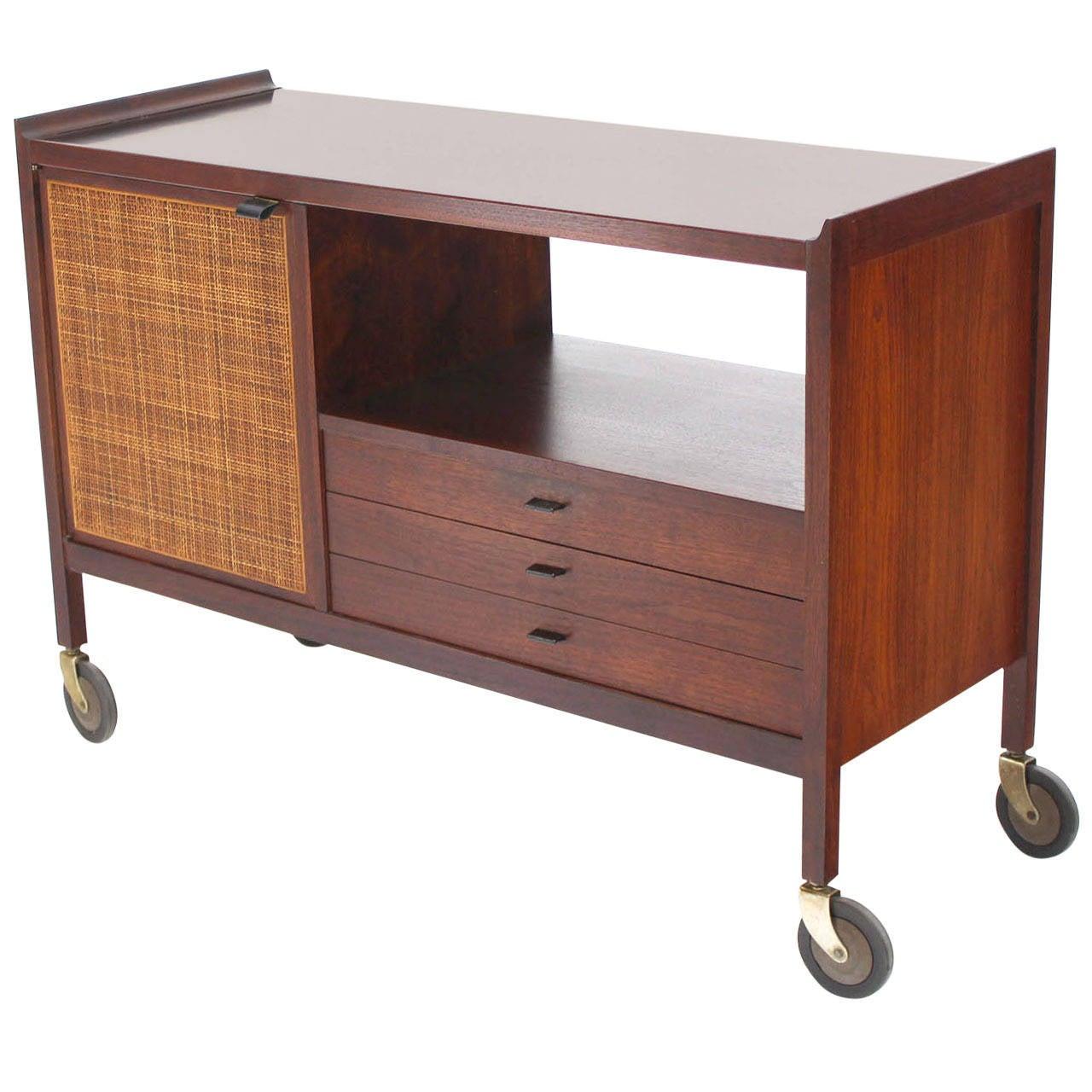Mid Century Modern Walnut Bar Cart With Three Drawers At
