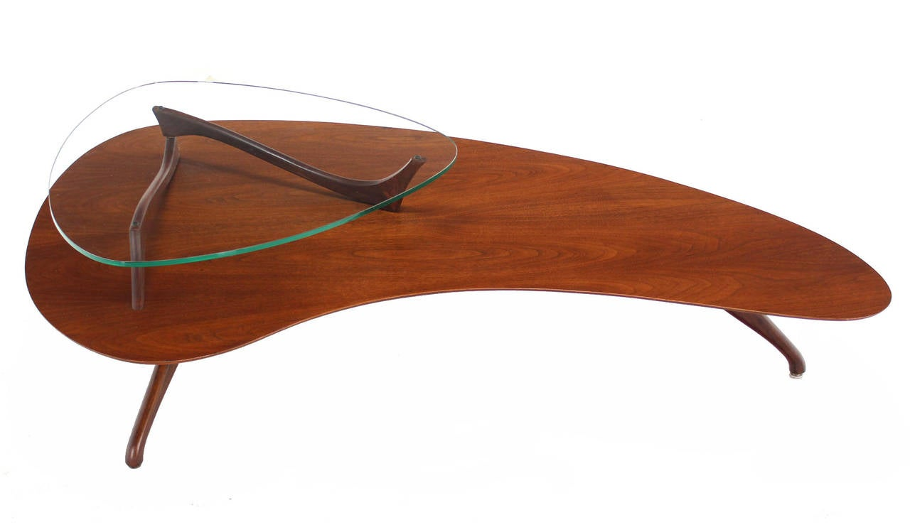 Organic Shape Walnut And Glass Coffee Table At 1stdibs
