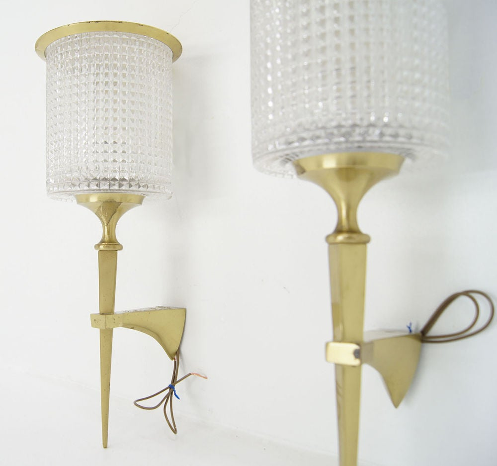 Pair of Bronze Beaded Crystal Sconces at 1stdibs