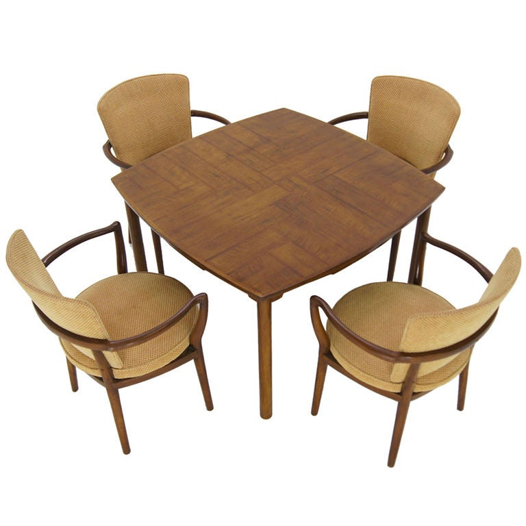 Widdicomb Bridge Set Game Table 4 Chairs at 1stdibs