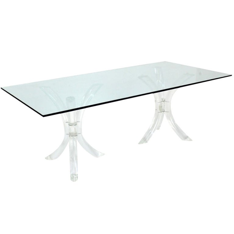 Bent Lucite Double Tripod Base Glass Top Dining Conference Table For Sale