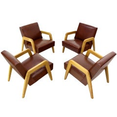 Set of 4 Mid Century Modern Lounge Chairs by Thonet