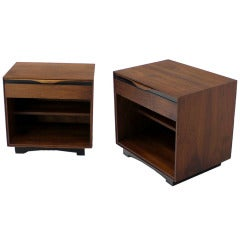 Pair of Danish Mid Century Modern Walnut Nightstands by John Stuart
