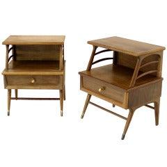 Pair of Mid Century Danish Modern Nightstands Stands Cabinets End Tables