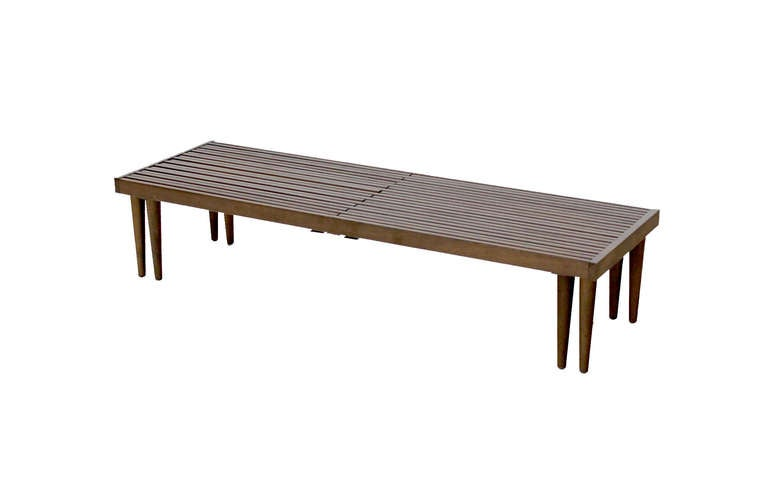 Expanding Danish Mid Century Modern Slat Bench Or Coffee Table At 1stdibs