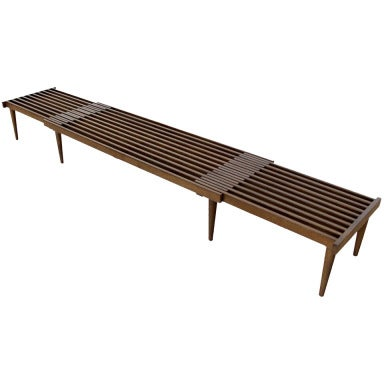Expanding danish mid century modern slat bench or coffee table for Cocktail table with 4 benches