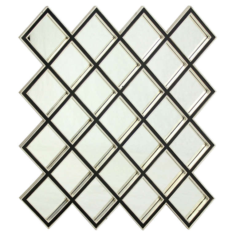 Large square mirror with wood frame composed of 25 tiles for Large square mirror