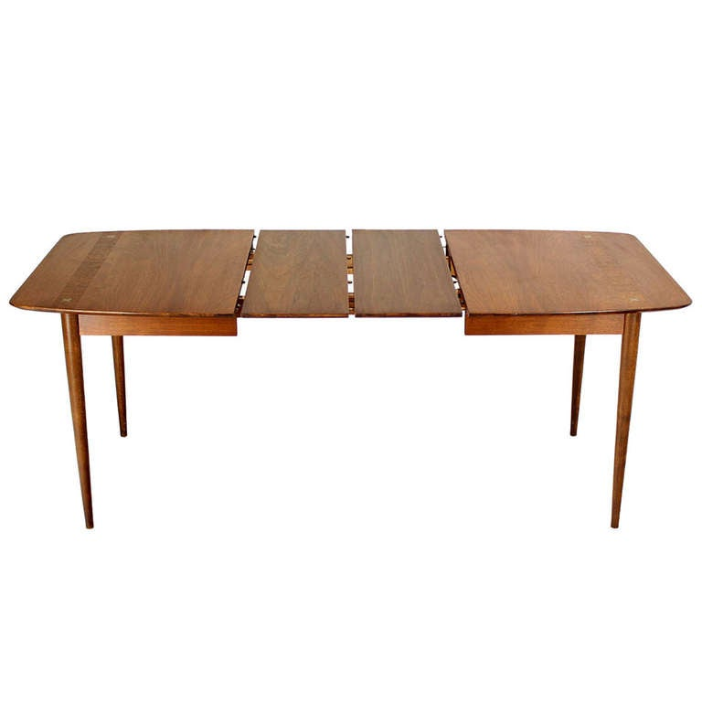danish mid century modern walnut dining table with two