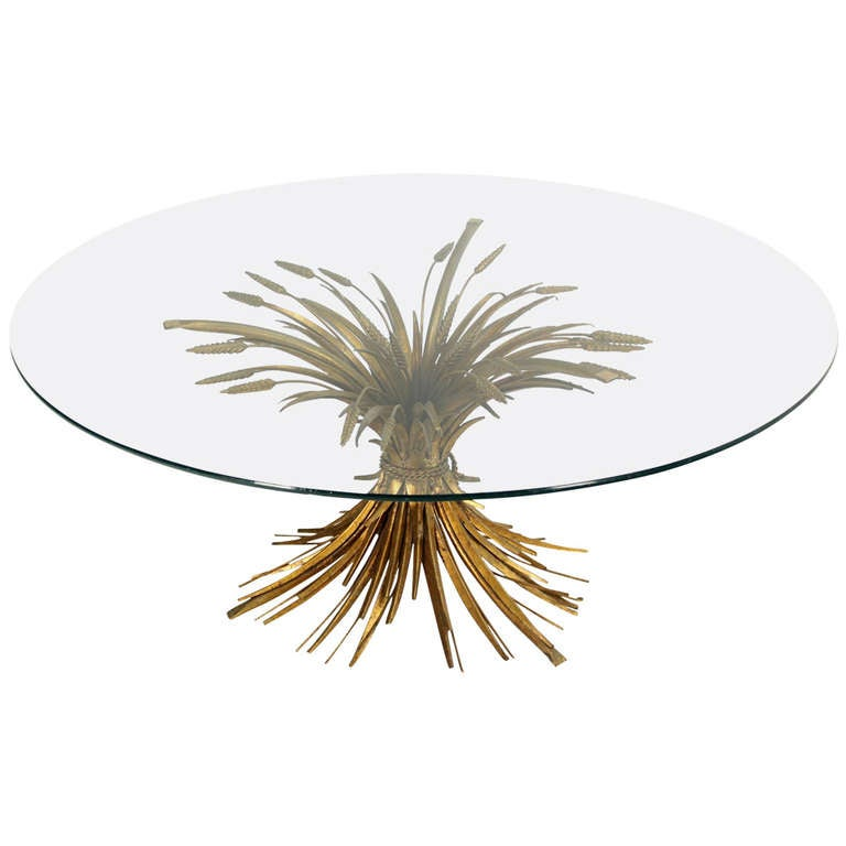 Brass Wheat Sheaf Round Glass Top Coffee Table Mid Century Modern At