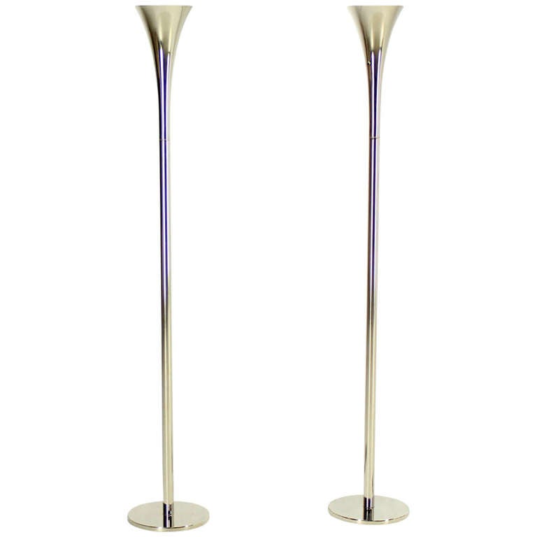 Pair Of Chrome Mid Century Modern Floor Lamp Torcheres By