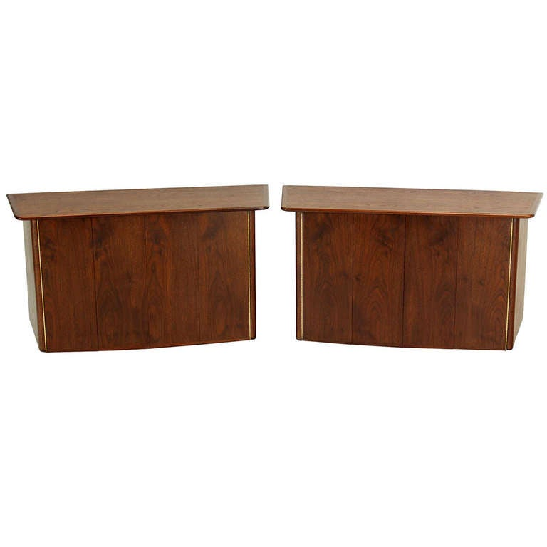 Pair of HANGING Walnut  Mid-Century Danish Modern  Floating Dressers Cabinets