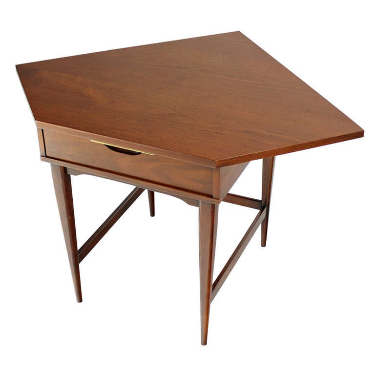 Mid Century Danish Modern Walnut Corner Desk For