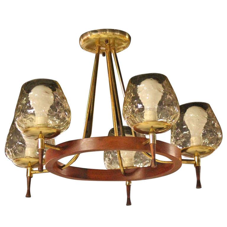 Mid century danish modern five light champagne fixture for Danish modern light fixtures