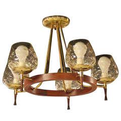 Mid-Century Danish Modern, Five-Light Champagne Chandelier