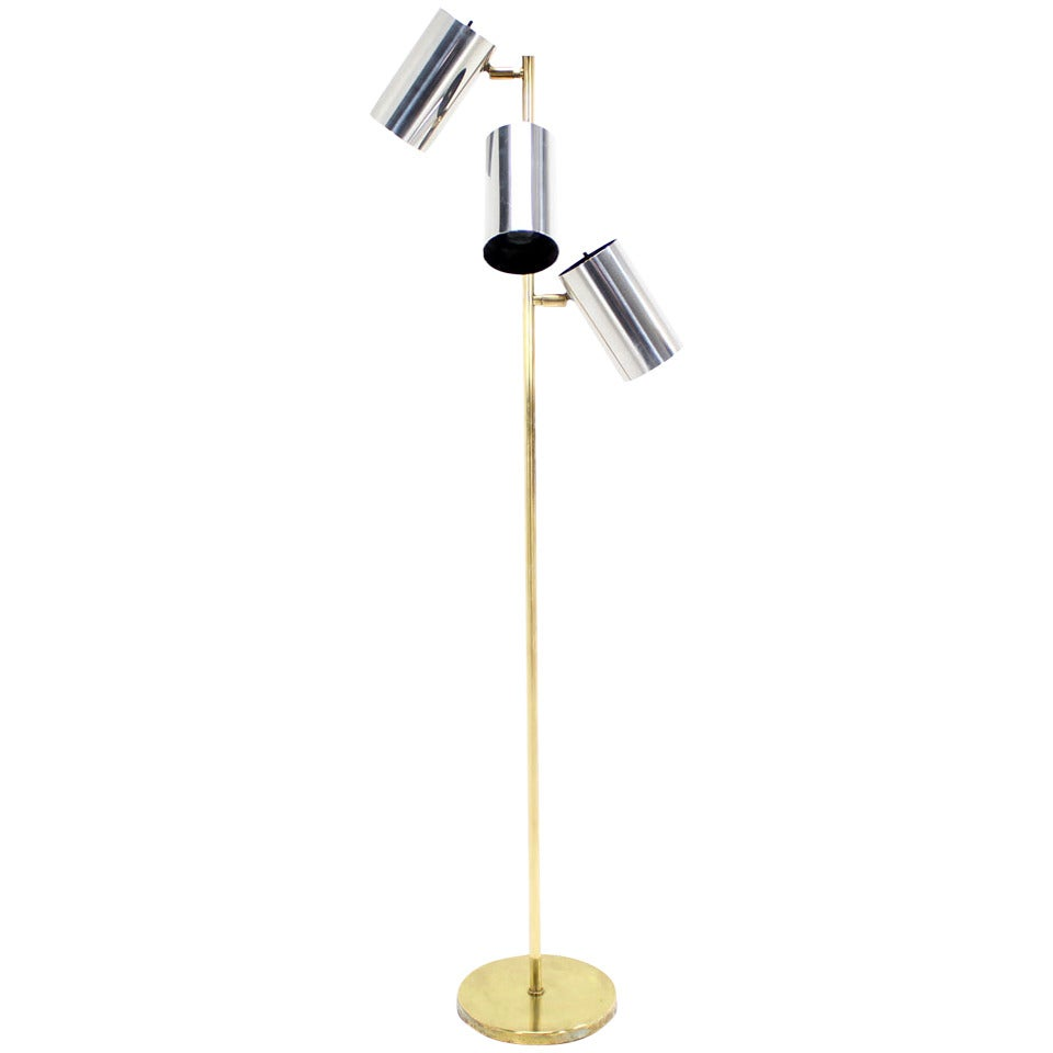 Midcentury Brass Base Floor Lamp with Three Fully Adjustable Chrome Shades