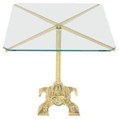 Cast Brass Base and Glass Top Side End Center Table Pedestal