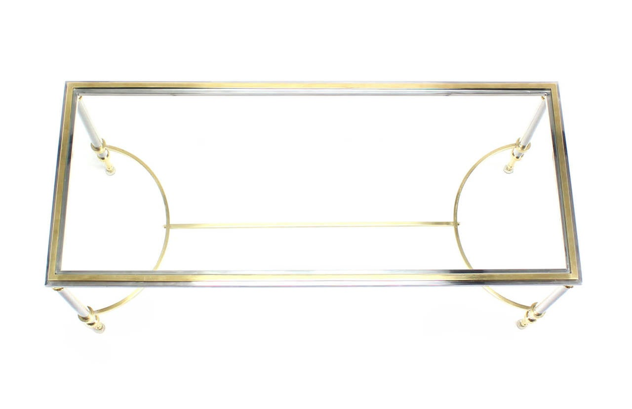 Chrome, Brass, and Glass-Top U-Shape Stretcher Coffee Table in Jansen Style For Sale 2